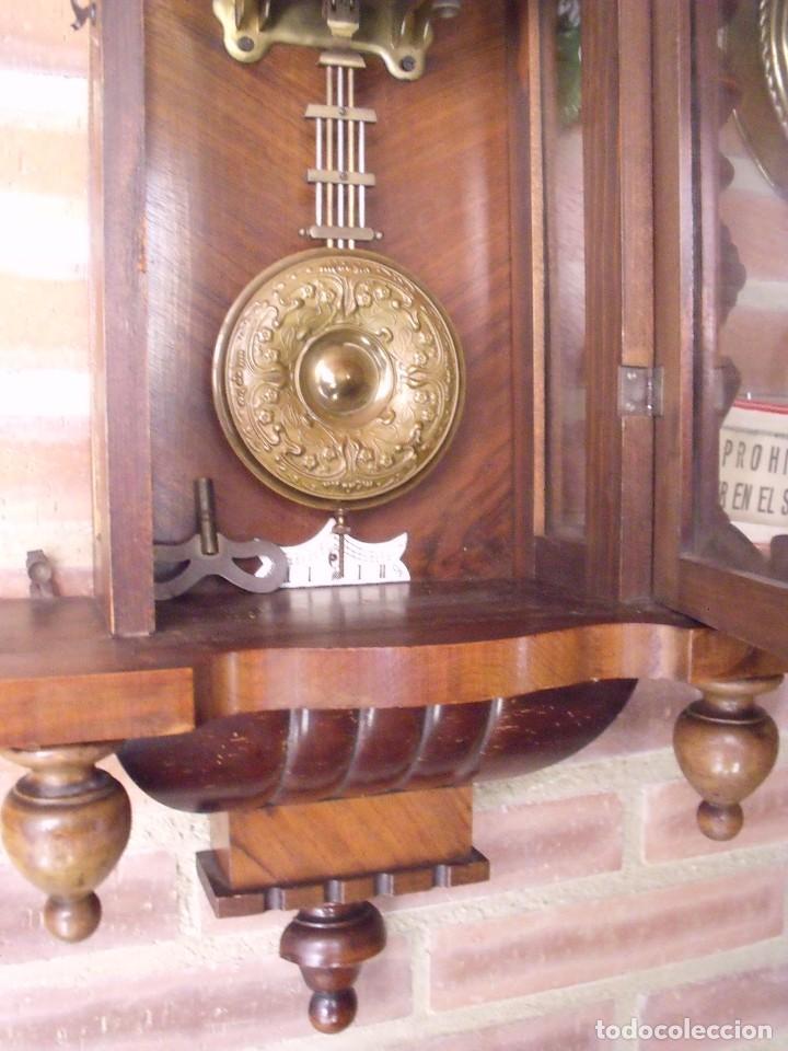 Relojes de pared: RARISIMO Y UNICO-104 CM-RELOJ ALFONSINO PFEILKREUZ- año 1910- SONERIA EN CAMPANA DE BRONCE- - Foto 12 - 123547187