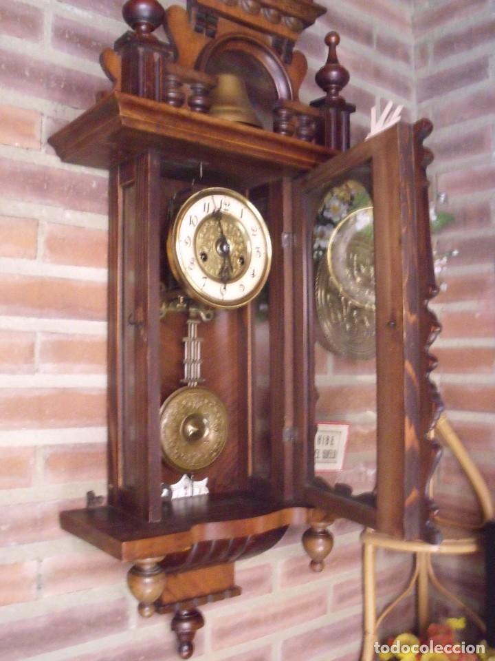 Relojes de pared: RARISIMO Y UNICO-104 CM-RELOJ ALFONSINO PFEILKREUZ- año 1910- SONERIA EN CAMPANA DE BRONCE- - Foto 13 - 123547187