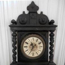 Relojes de pared: RELOJ DE PARED DOBLE CUERDA DE MADERA Y BRONCE DEL RENACIMIENTO. Lote 126148883