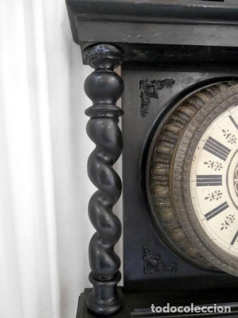Relojes de pared: RELOJ DE PARED DOBLE CUERDA DE MADERA Y BRONCE DEL RENACIMIENTO - Foto 5 - 126148883
