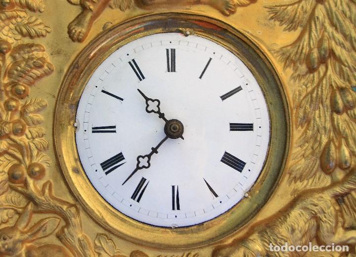 Relojes de pared: antiguo reloj dorado en oro fino siglo xix - Foto 3 - 126857487