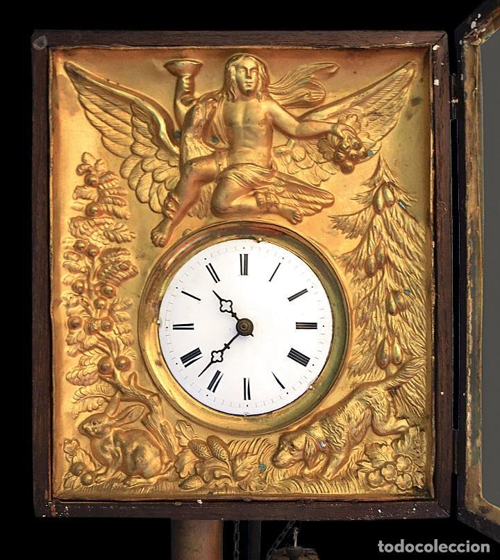 Relojes de pared: antiguo reloj dorado en oro fino siglo xix - Foto 4 - 126857487