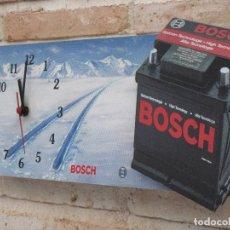 Relojes de pared: RELOJ DE PARED CON PUBLICIDAD : B0SCH - BATERIAS - FUNCIONANDO.. Lote 127132003