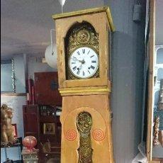 Relojes de pared: ANTIGUO RELOJ DE CAJA ALTA POLICROMADO. MOREZ HECHO EN BIESCAS. SIGLO XIX. Lote 128186407
