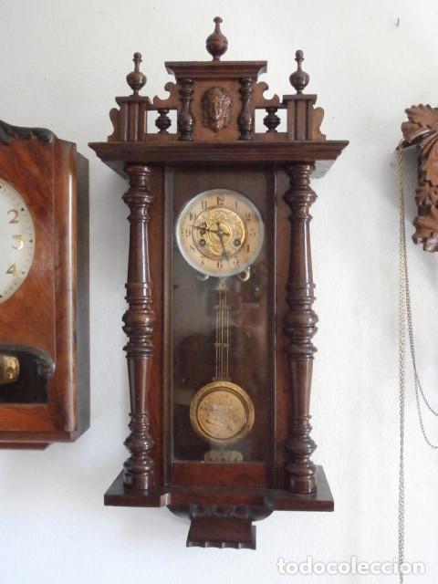 ANTIGUO RELOJ DE CUERDA MECÁNICA PARED MILITAR ALEMÁN I GUERRA MUNDIAL 1917 FUNCIONA Y DA CAMPANADAS (Relojes - Pared Carga Manual)