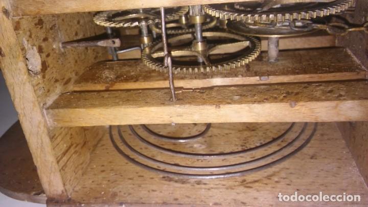 Relojes de pared: Ratera maquinaria completa y funcionando, sonería gong reloj original selva negra antiguo 1850 s XIX - Foto 9 - 137743418