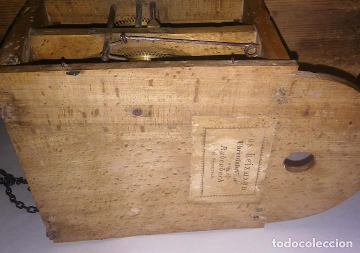 Relojes de pared: Ratera maquinaria completa y funcionando, sonería gong reloj original selva negra antiguo 1850 s XIX - Foto 18 - 137743418