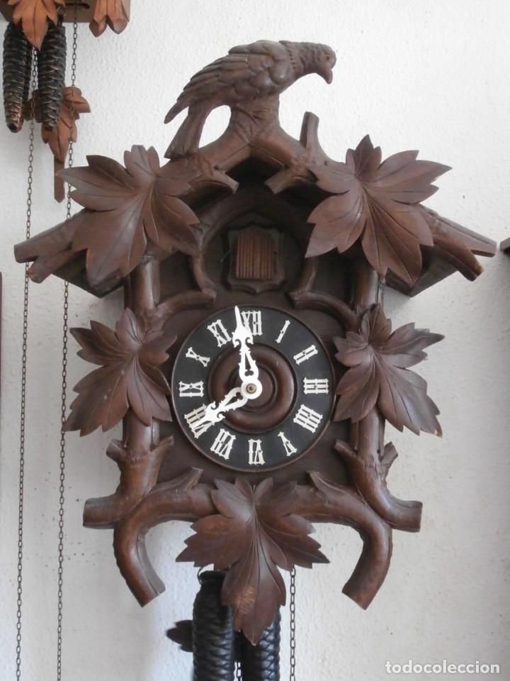 Relojes de pared: Reloj antiguo de pared alemán cucu cuco péndulo funciona con pesas año 1900 1910 selva negra alemana - Foto 2 - 141432562