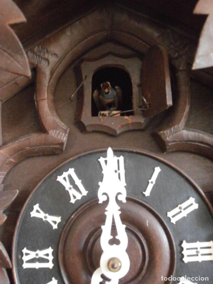 Relojes de pared: Reloj antiguo de pared alemán cucu cuco péndulo funciona con pesas año 1900 1910 selva negra alemana - Foto 3 - 141432562