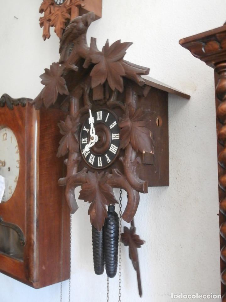 Relojes de pared: Reloj antiguo de pared alemán cucu cuco péndulo funciona con pesas año 1900 1910 selva negra alemana - Foto 4 - 141432562