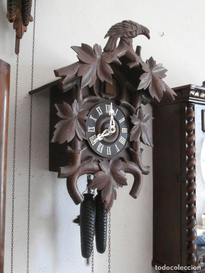 Relojes de pared: Reloj antiguo de pared alemán cucu cuco péndulo funciona con pesas año 1900 1910 selva negra alemana - Foto 5 - 141432562
