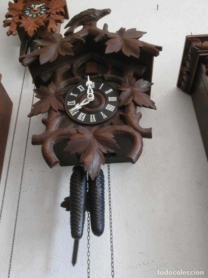 Relojes de pared: Reloj antiguo de pared alemán cucu cuco péndulo funciona con pesas año 1900 1910 selva negra alemana - Foto 6 - 141432562