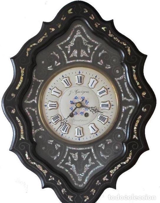 RELOJ DE PARED - UNICO – ISABELINO – MAQUINA PARIS - CAJA INCRUSTACIONES NACAR - PRECIO EXCEPCIONAL (Relojes - Pared Carga Manual)