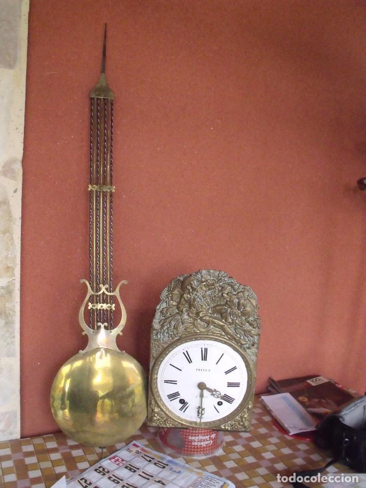 Relojes de pared: ¡¡gran oferta!!! ANTIGUO RELOJ MOREZ DE PESAS PENDULO DE LIRA -AÑO 1870- LOTE 141 - Foto 2 - 192331246
