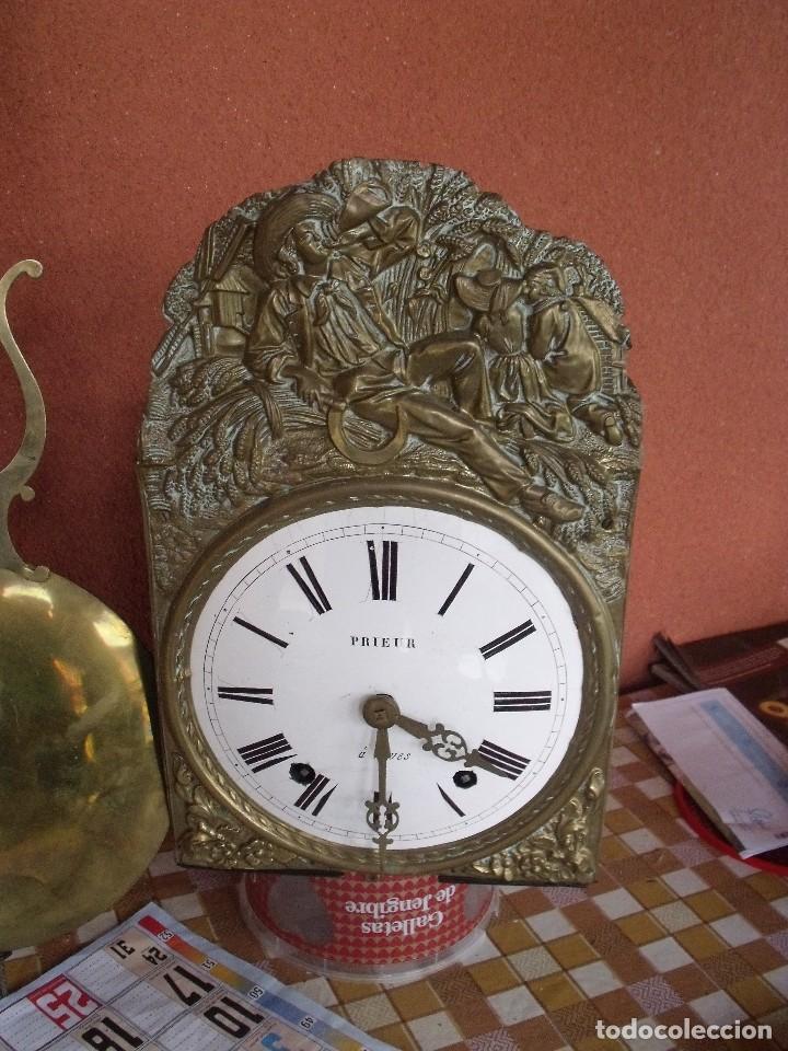 Relojes de pared: ¡¡gran oferta!!! ANTIGUO RELOJ MOREZ DE PESAS PENDULO DE LIRA -AÑO 1870- LOTE 141 - Foto 3 - 192331246