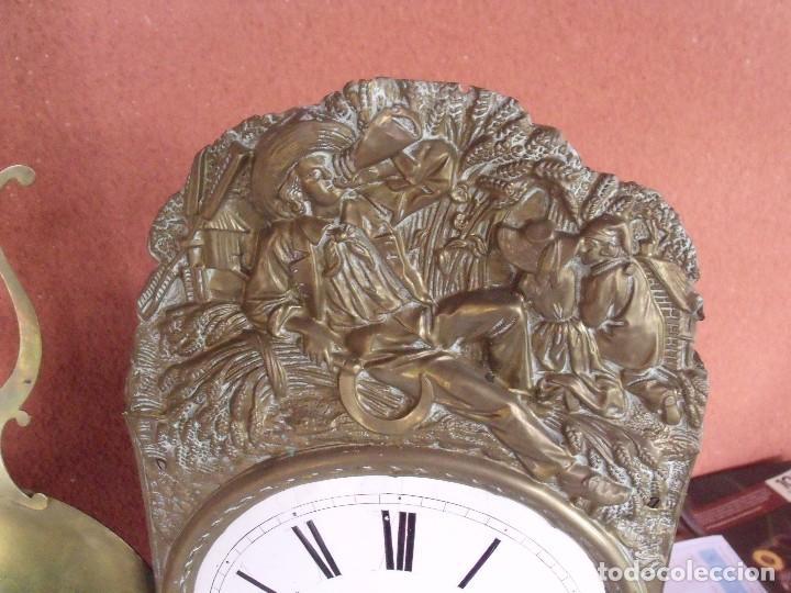 Relojes de pared: ¡¡gran oferta!!! ANTIGUO RELOJ MOREZ DE PESAS PENDULO DE LIRA -AÑO 1870- LOTE 141 - Foto 4 - 192331246