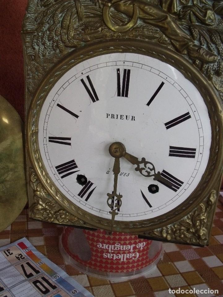 Relojes de pared: ¡¡gran oferta!!! ANTIGUO RELOJ MOREZ DE PESAS PENDULO DE LIRA -AÑO 1870- LOTE 141 - Foto 5 - 192331246