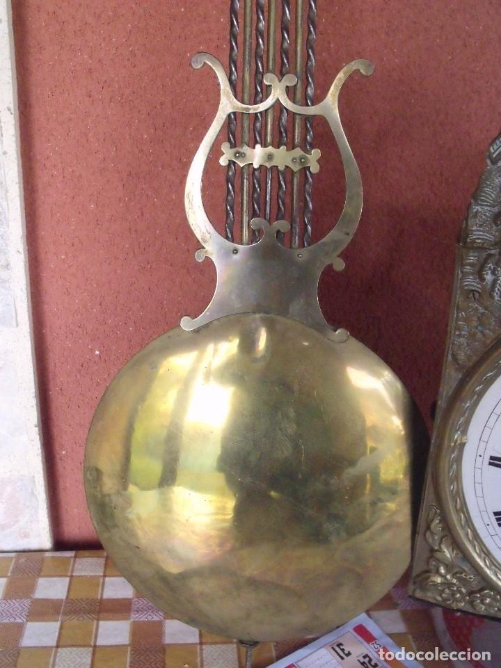 Relojes de pared: ¡¡gran oferta!!! ANTIGUO RELOJ MOREZ DE PESAS PENDULO DE LIRA -AÑO 1870- LOTE 141 - Foto 6 - 192331246