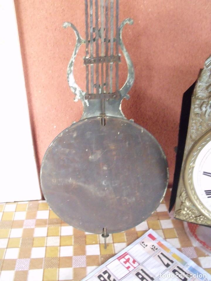 Relojes de pared: ¡¡gran oferta!!! ANTIGUO RELOJ MOREZ DE PESAS PENDULO DE LIRA -AÑO 1870- LOTE 141 - Foto 8 - 192331246