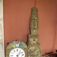 Relojes de pared: ¡¡¡GRAN OFERTA !!!PRECIOSO RELOJ MOREZ PESAS POLICROMADO- AÑO 1890-FUNCIONAL-REPITE HORAS-LOTE 142. Lote 142234846