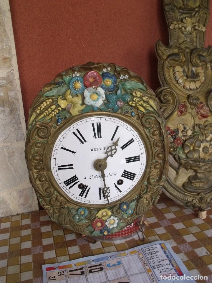 Relojes de pared: ¡¡¡GRAN OFERTA !!!PRECIOSO RELOJ MOREZ PESAS POLICROMADO- AÑO 1890-FUNCIONAL-REPITE HORAS-LOTE 142 - Foto 3 - 142234846