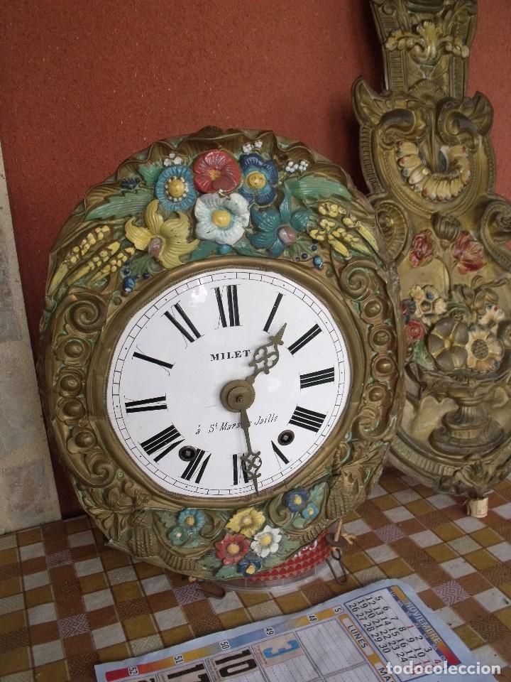 Relojes de pared: ¡¡¡GRAN OFERTA !!!PRECIOSO RELOJ MOREZ PESAS POLICROMADO- AÑO 1890-FUNCIONAL-REPITE HORAS-LOTE 142 - Foto 4 - 142234846
