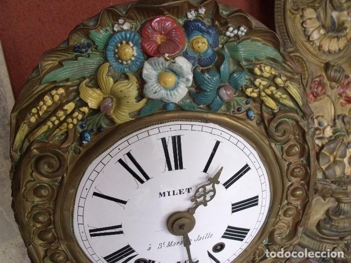 Relojes de pared: ¡¡¡GRAN OFERTA !!!PRECIOSO RELOJ MOREZ PESAS POLICROMADO- AÑO 1890-FUNCIONAL-REPITE HORAS-LOTE 142 - Foto 5 - 142234846