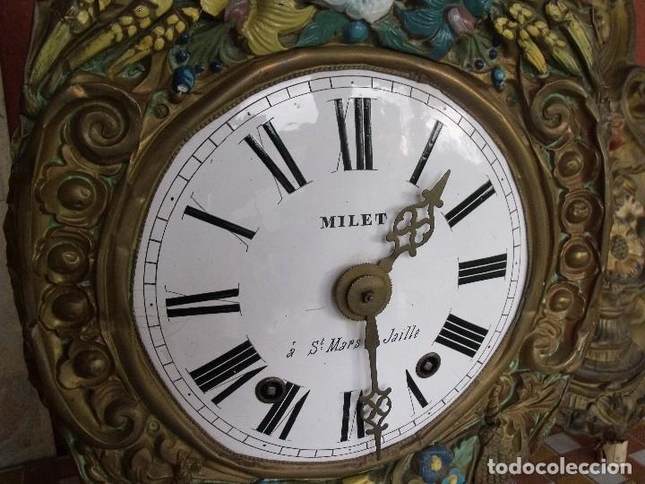 Relojes de pared: ¡¡¡GRAN OFERTA !!!PRECIOSO RELOJ MOREZ PESAS POLICROMADO- AÑO 1890-FUNCIONAL-REPITE HORAS-LOTE 142 - Foto 6 - 142234846