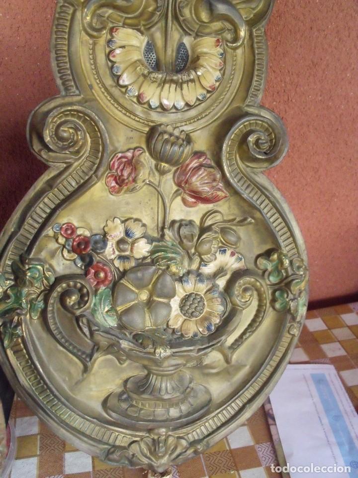 Relojes de pared: ¡¡¡GRAN OFERTA !!!PRECIOSO RELOJ MOREZ PESAS POLICROMADO- AÑO 1890-FUNCIONAL-REPITE HORAS-LOTE 142 - Foto 7 - 142234846