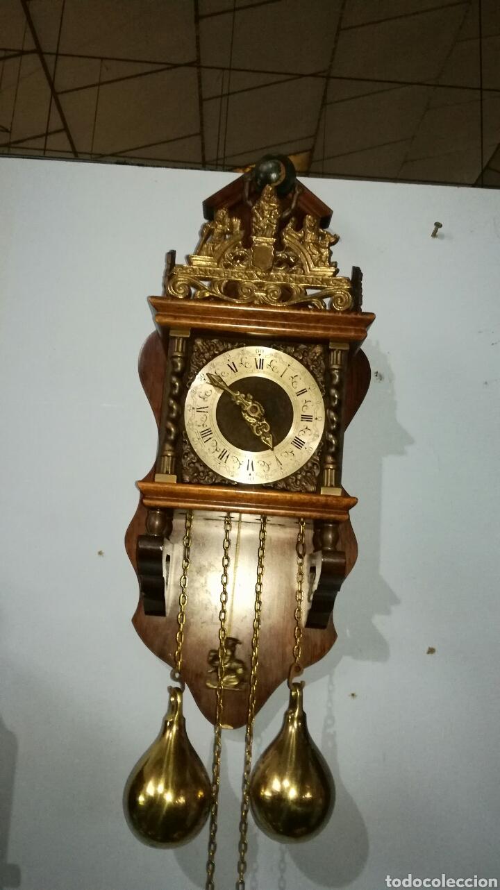 RELOJ HOLANDÉS FUNCIONANDO MUY BONITO CON CAJA DE ROBLE (Relojes - Pared Carga Manual)