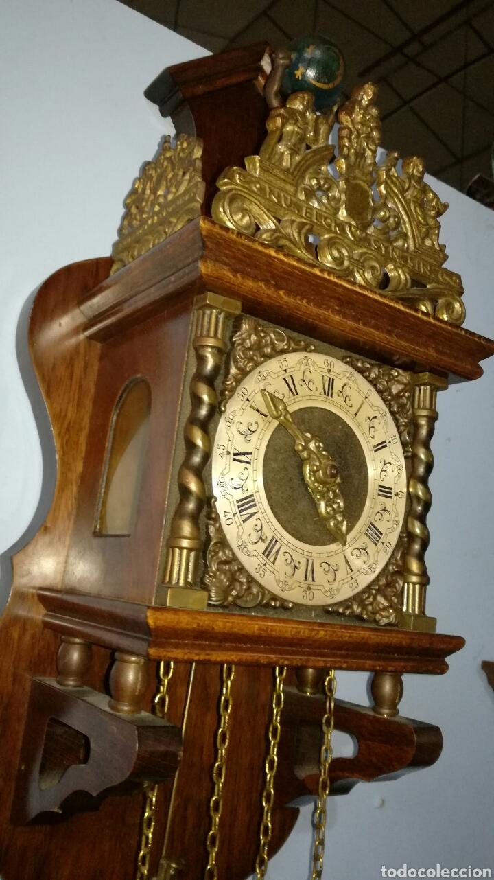 Relojes de pared: Reloj holandés funcionando muy bonito con caja de roble - Foto 2 - 144120086