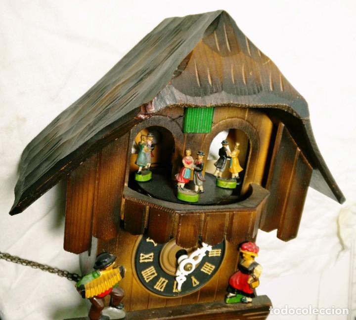 Relojes de pared: Reloj mecánico de Cuco de la Selva Negra, carrusel musical, madera tallada - Foto 3 - 145855302