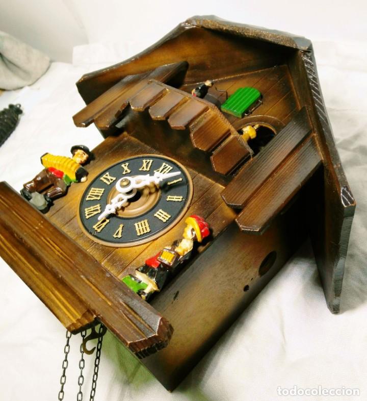 Relojes de pared: Reloj mecánico de Cuco de la Selva Negra, carrusel musical, madera tallada - Foto 4 - 145855302