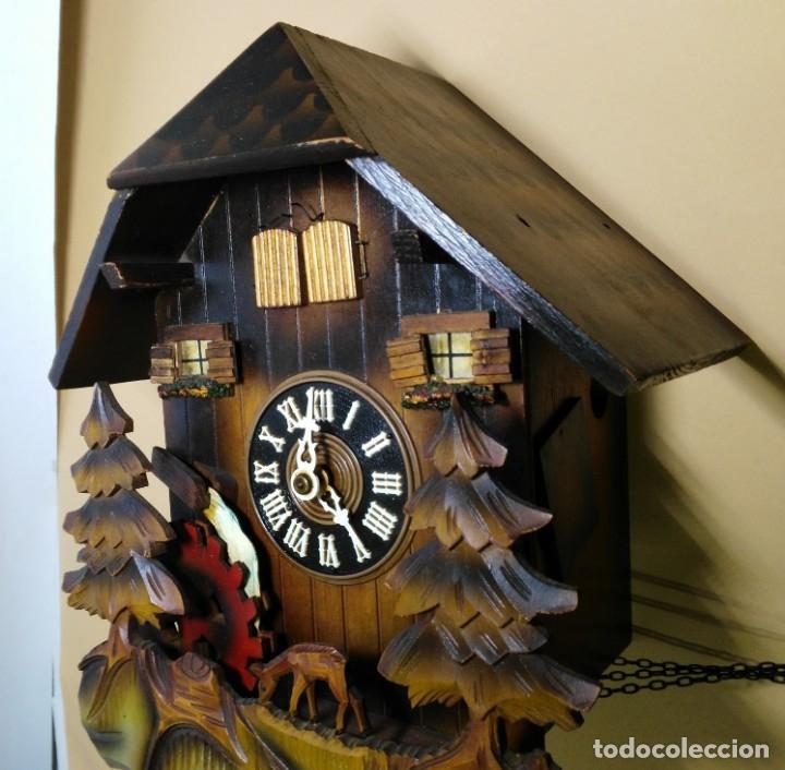 Relojes de pared: Reloj de Cuco Musical de la Selva Negra, mecánico, madera tallada - Foto 5 - 145742542