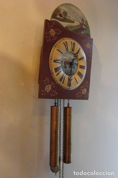 Relojes de pared: RELOJ ALEMÁN, TIPO RATERA, FABRICADO POR ALBERT SCHWAB, DECORADO A MANO. - Foto 2 - 147884014