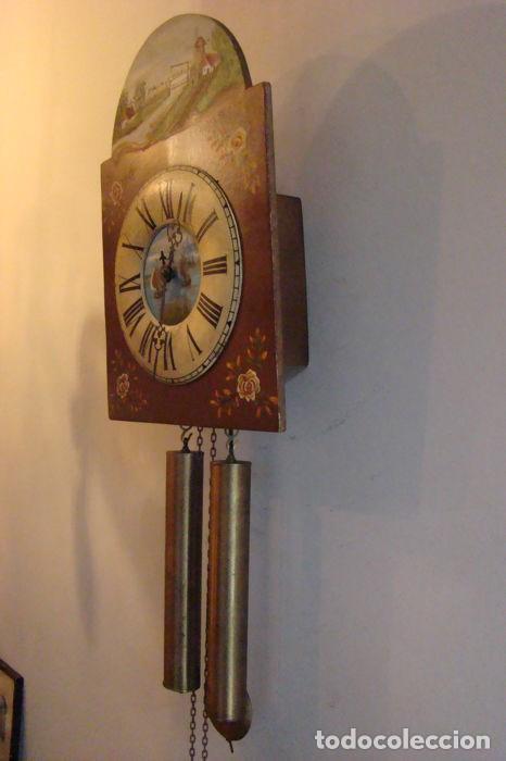 Relojes de pared: RELOJ ALEMÁN, TIPO RATERA, FABRICADO POR ALBERT SCHWAB, DECORADO A MANO. - Foto 3 - 147884014