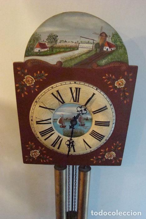 Relojes de pared: RELOJ ALEMÁN, TIPO RATERA, FABRICADO POR ALBERT SCHWAB, DECORADO A MANO. - Foto 5 - 147884014