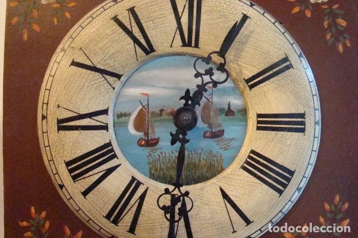 Relojes de pared: RELOJ ALEMÁN, TIPO RATERA, FABRICADO POR ALBERT SCHWAB, DECORADO A MANO. - Foto 6 - 147884014