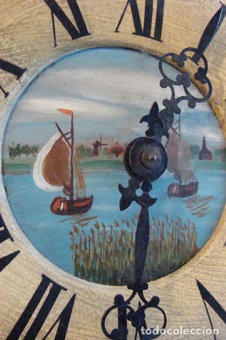 Relojes de pared: RELOJ ALEMÁN, TIPO RATERA, FABRICADO POR ALBERT SCHWAB, DECORADO A MANO. - Foto 7 - 147884014