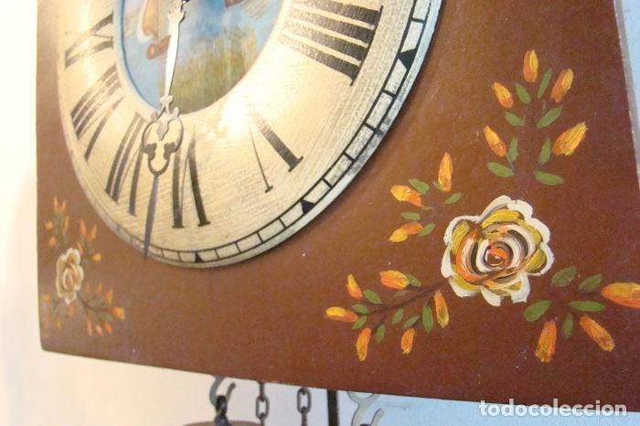 Relojes de pared: RELOJ ALEMÁN, TIPO RATERA, FABRICADO POR ALBERT SCHWAB, DECORADO A MANO. - Foto 8 - 147884014