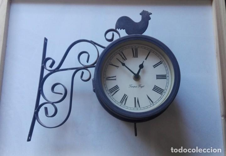 RELOJ DE PARED DE ESTACIÓN FERROVIARIA TEMPUS FUGIT DOBLE CARA CON TERMÓMETRO. (Relojes - Pared Carga Manual)