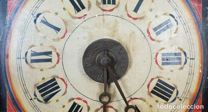 Relojes de pared: RELOJ DE PARED Ó RATERA. FRONTAL DE MADERA POLICROMADA. SIGLO XIX. - Foto 6 - 147970126