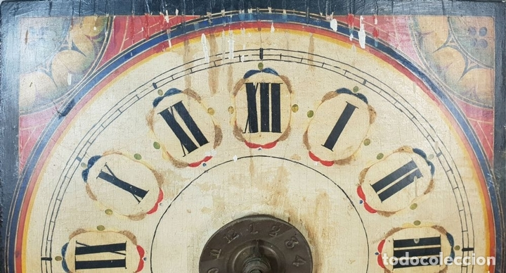Relojes de pared: RELOJ DE PARED Ó RATERA. FRONTAL DE MADERA POLICROMADA. SIGLO XIX. - Foto 7 - 147970126
