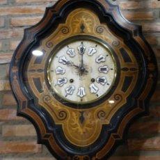 Relojes de pared: RELOJ OJO DE BUEY EBONIZADO, MARQUETERÍA. MAQUINARIA MOREZ.. Lote 149854742