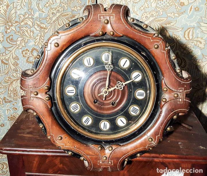 MAGNÍFICO RELOJ PARED ISABELINO ,OJO DE BUEY. C1880, RELOJERIA FCO. MENSA, BARCELONA (Relojes - Pared Carga Manual)