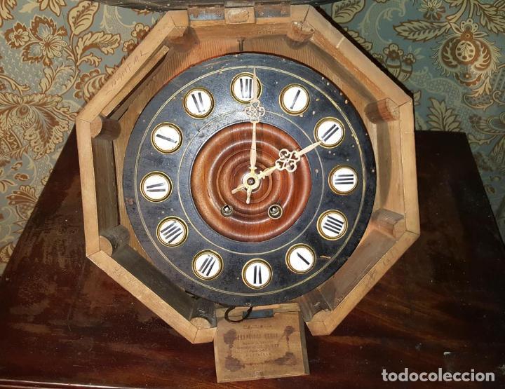 Relojes de pared: MAGNÍFICO RELOJ PARED ISABELINO ,OJO DE BUEY. C1880, RELOJERIA FCO. MENSA, BARCELONA - Foto 2 - 151210290
