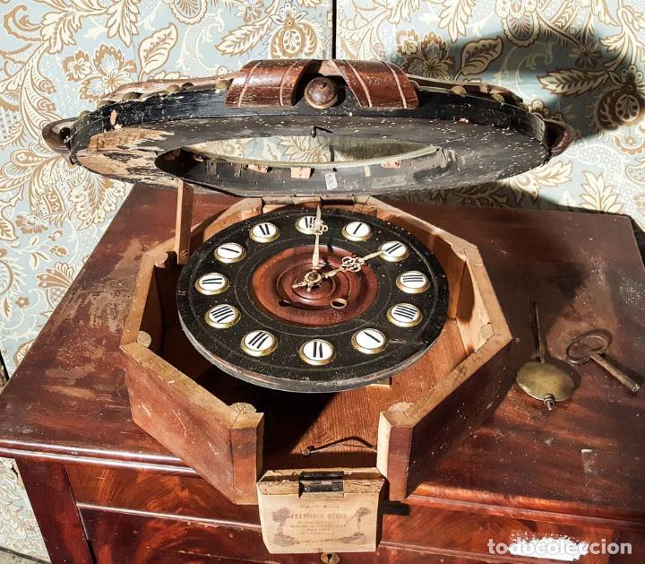 Relojes de pared: MAGNÍFICO RELOJ PARED ISABELINO ,OJO DE BUEY. C1880, RELOJERIA FCO. MENSA, BARCELONA - Foto 4 - 151210290