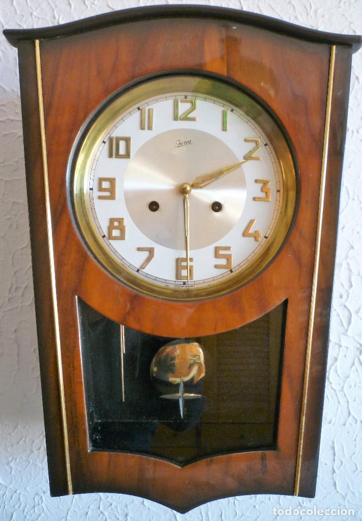 RELOJ DE PARED MARCA JUNVA MADE IN GERMANI - COMPLETO – CRISTAL TALLADO (Relojes - Pared Carga Manual)