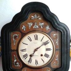 Relojes de pared: RELOJ PARED OJO DE BUEY, FRANCES MOREZ MADERA Y NÁCAR. Lote 155582572