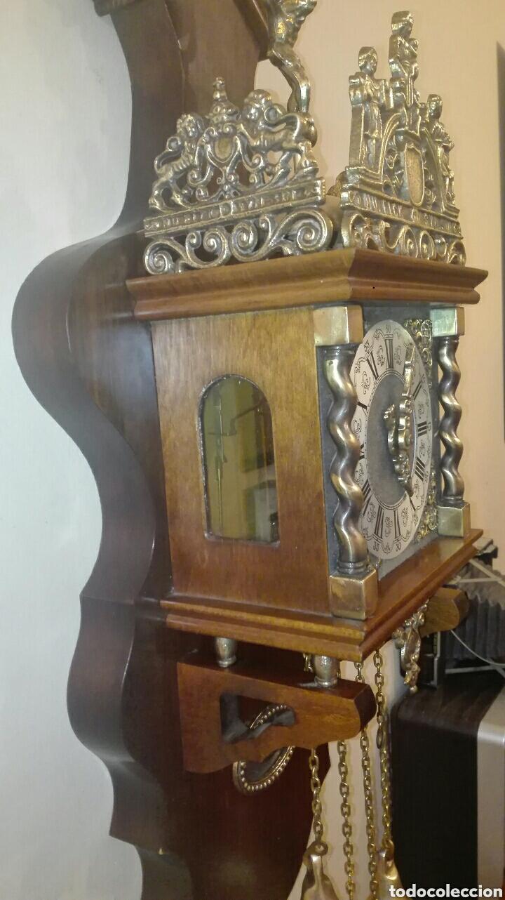 Relojes de pared: ANTIGUO RELOJ DE PARED, HOLANDES, EL MÁS GRANDE DE SU SERIE, ESTÁ COMPLETO Y FUNCIONANDO. - Foto 3 - 155757850